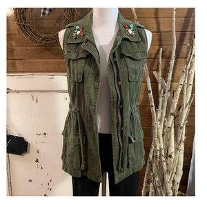 Decree embellished army green vest